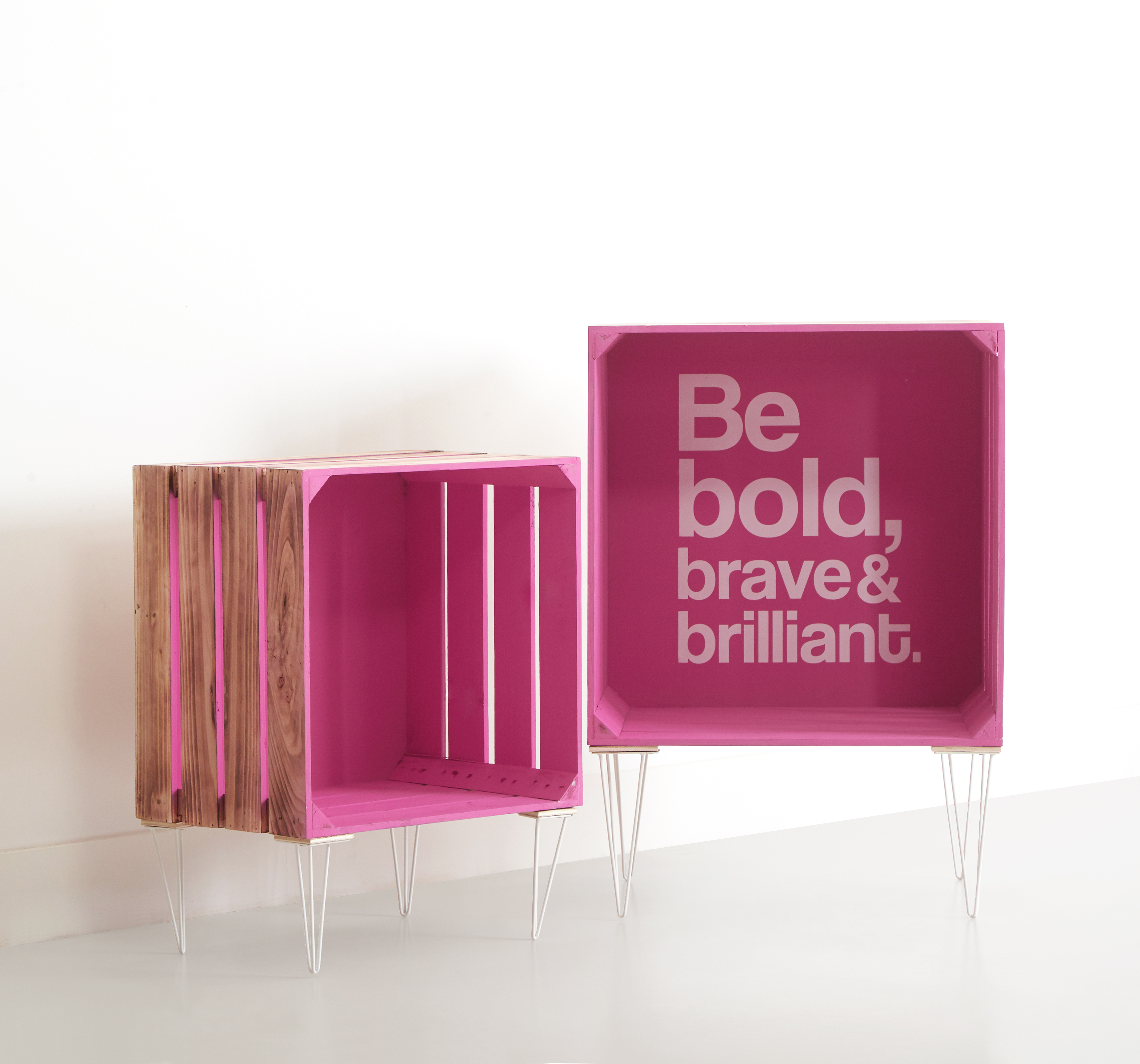 Wooden Nested Storage Crates, 1 Inspirational text crate and 1 Solid (Set of 2)