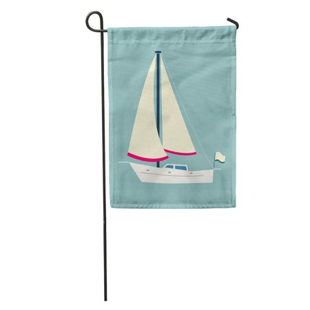 KDAGR Blue Sailboat Sailing Boat Flat Sea Ship Cruise Cruising Equipment Garden Flag Decorative Flag House Banner 12x18