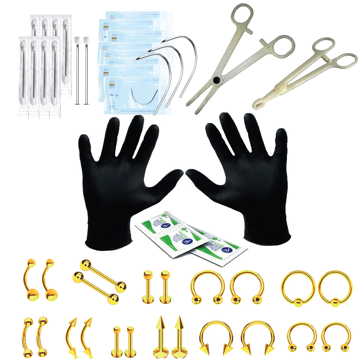 BodyJ4You 46PC Professional Piercing Kit 14G 16G Goldtone Steel Belly Ring Tongue Tragus Nipple Lip
