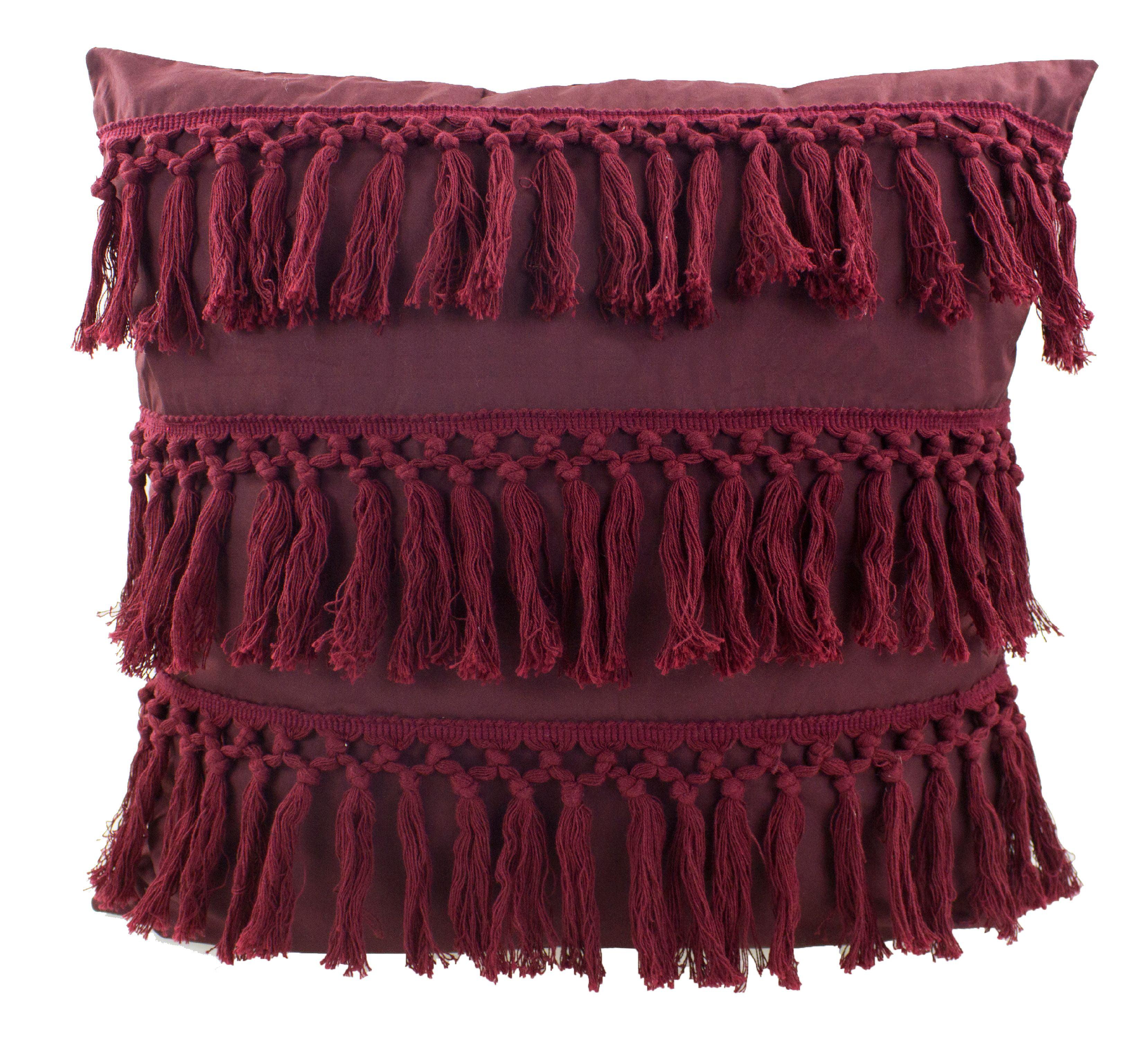 f955cc811ed Stylish Fringe Tassels Decorative Cotton Throw Pillow (Burgundy
