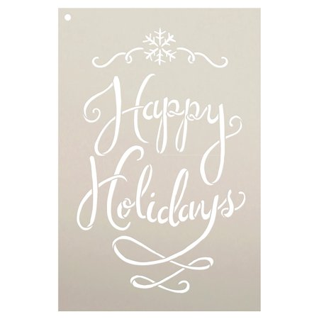 Happy Holidays Stencil by StudioR12 | Festive Christmas Word Art - Reusable Mylar Template | Stencils for Painting a Wall, Canvas and Boards | Use for Crafting, DIY Home Decor - SELECT SIZE
