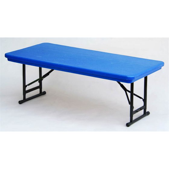 adjustable height folding table in blue w short leg blue. Black Bedroom Furniture Sets. Home Design Ideas