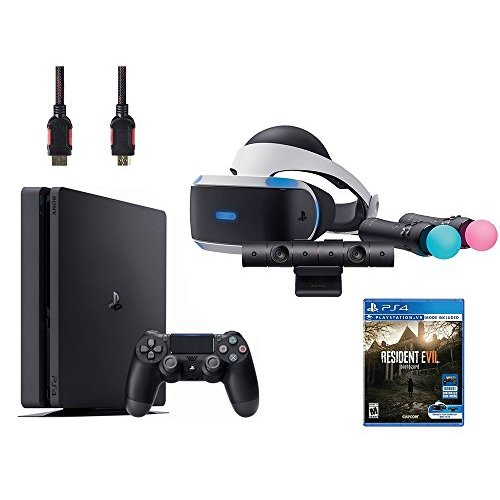 Refurbished PlayStation 4 VR Bundle VR Headset Camera Move Motion Controllers Sony PS4 Slim 1TB Console Black Resident Evil 7: Biohazard Home MJL025