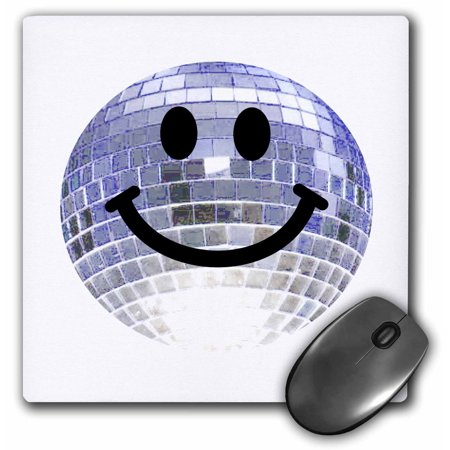 3dRose Disco ball smiley face - silver dance club theme smilie Happy party smilie - clubbing smile smiling, Mouse Pad, 8 by 8 inches