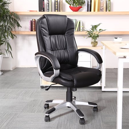 Belleze High Back Executive PU Leather Padded Manager's Office Chair (High Back Black Leather Contemporary Office Chair)