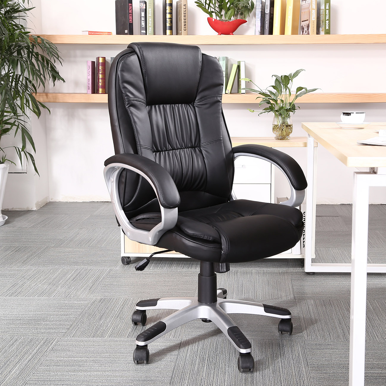 Belleze High Back Executive PU Leather Padded Manager's Office Chair (Black)