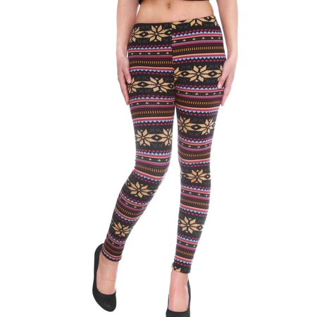 Fair Isle Legging - Simplicity Women's Mid-Waist Full Length Winter Leggings - Fair Isle Knit Pattern