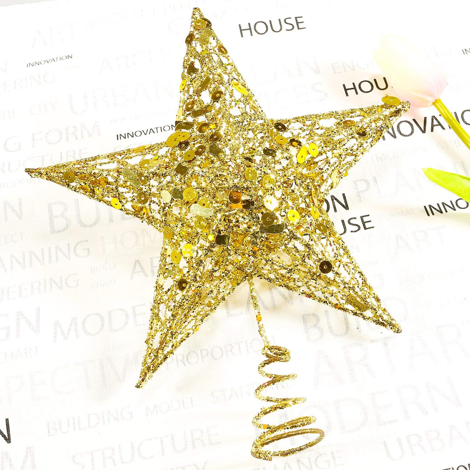 Christmas Tree Star Topper 9 8in Xmas Tree Topper Star Christmas Decoration Glittered Tree Top Star For Christmas Tree Ornament Indoor Party Home