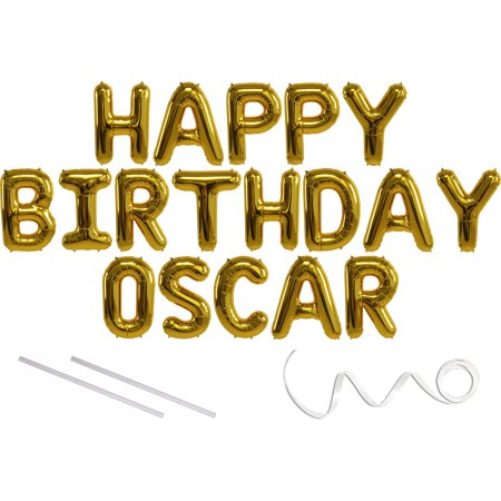 Oscar, Happy Birthday Mylar Balloon Banner - Gold - 16 inch Letters. Includes 2 Straws for Inflating, String for Hanging. Air Fill Only- Does Not Float w/Helium. Great Birthday Decoration