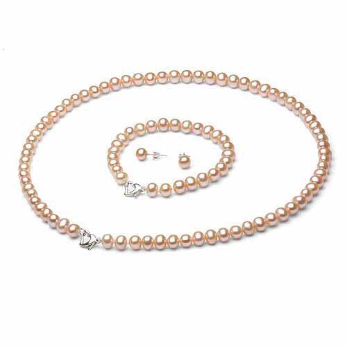 "5-6mm Pink Freshwater Pearl Heart-Shape Sterling Silver Necklace (18""), Bracelet (7"") Set with Bonus Pearl Stud Earrings"