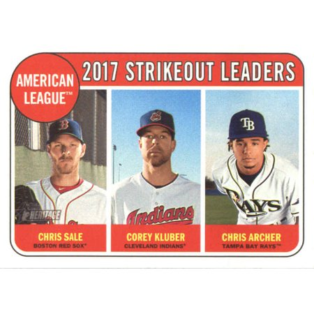2018 Topps Heritage #11 Chris Archer/Chris Sale/Corey Kluber Tampa Bay Rays/Boston Red Sox/Cleveland Indians Baseball