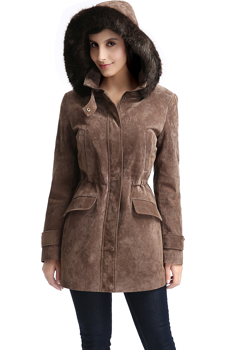 "Women's ""Chloe"" Hooded Suede Leather Parka Coat - Regular & Short"