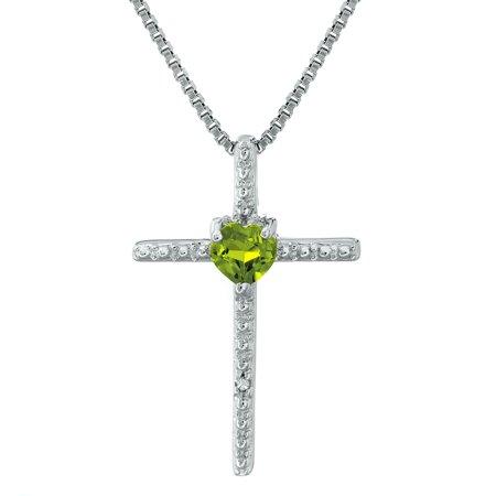 "Lavari - .20 Ct Heart Green Peridot Diamond Sterling Silver Cross Pendant 18"" Chain"