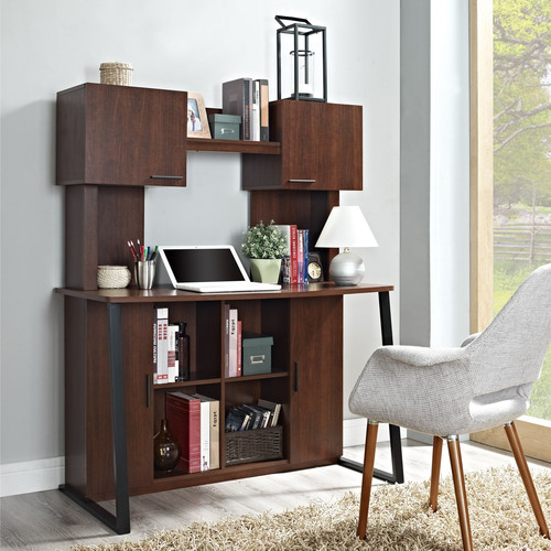 Ameriwood Home Hanson Desk with Hutch, Cherry