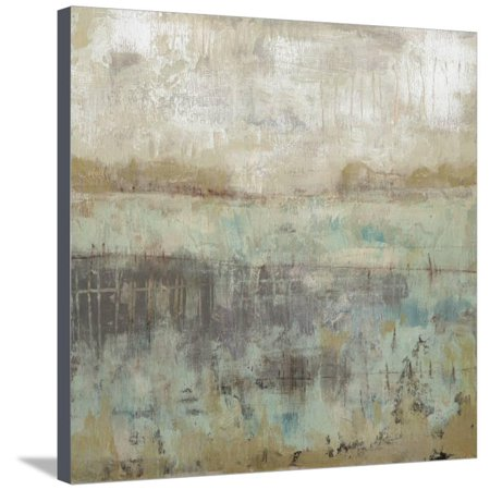 Pastels and Rust I Neutral Turquoise Teal Abstract Landscape Painting Stretched Canvas Print Wall Art By Jennifer Goldberger (Goldberger Abstract Print)