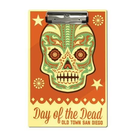 Old Town San Diego - Day of the Dead - Sugar Skull Mask - Lantern Press Artwork (Acrylic (Diego's Halloween)