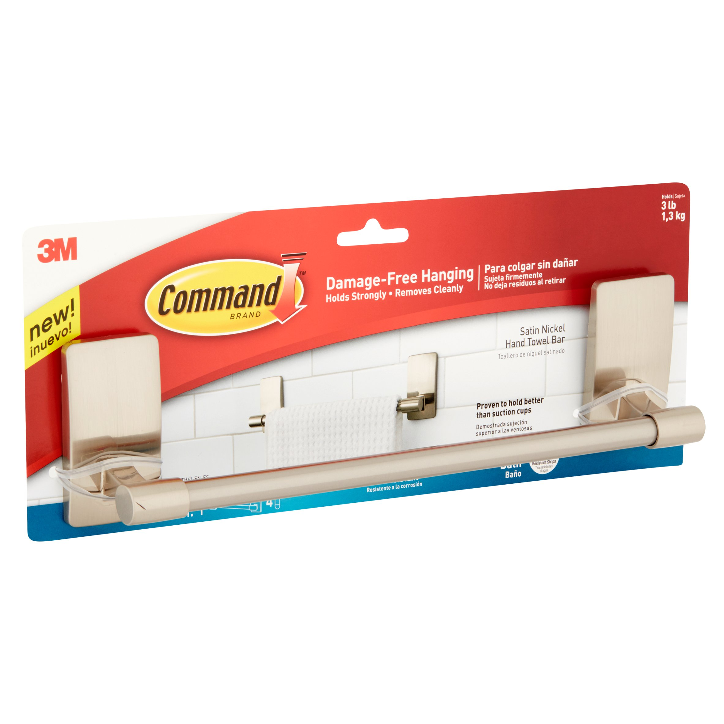 3m Command Damage Free Hand Towel Bar Hangs 3 Pounds Hang Without Tools 1 4 Strips Bath41 Sn Es