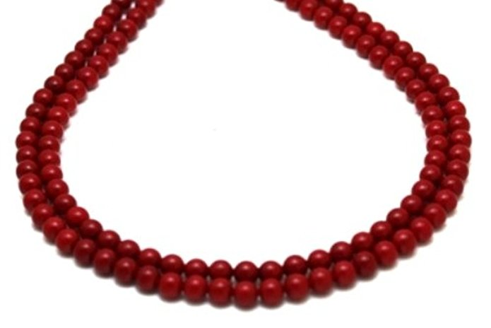 "Coral Necklaces 2 Strands 8 mm Coral Beads Beaded Necklace 17"" Long by GINO"