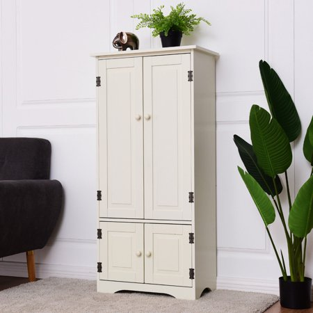 Colonial White Cabinets - Costway Accent Storage Cabinet Adjustable Shelves Antique 2 Door Floor Cabinet White