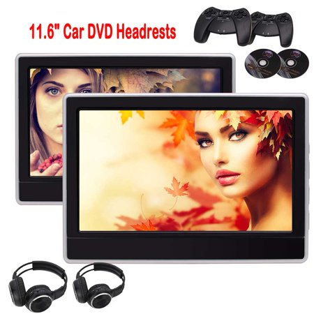 Dual Portable Headrests Upgraded Quality Car DVD Players Twin Screens USB SD Reader FM/IR Transmitter Support Video IN Aux in Back-seat Units 32 Bit Games with Gamepads + Free Wireless (Transmitter Unit)