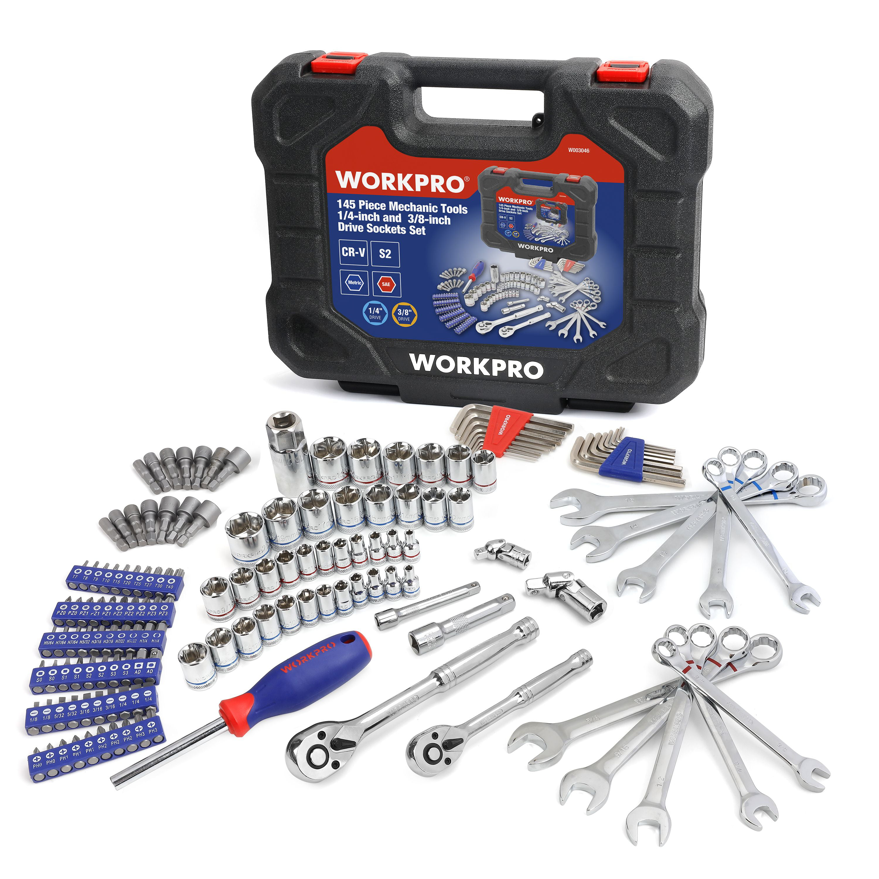 """Tools 24-piece 3//8/"""" Ratchet and Drive workpro Sockets Set with Blow Molded Case"""