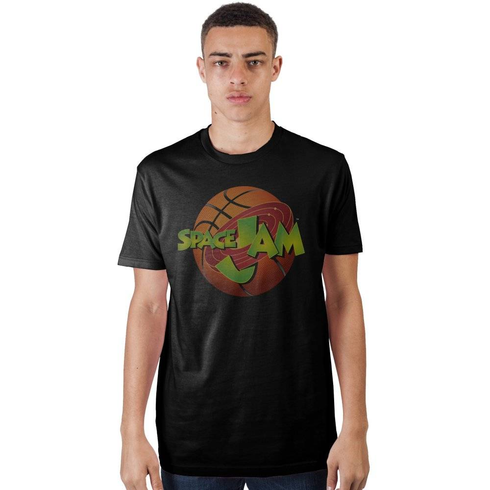 Space Jam Fitted Black T-Shirt with Basketball and Movie Logo, Sports Basketball Team, Looney Tunes-X-Large