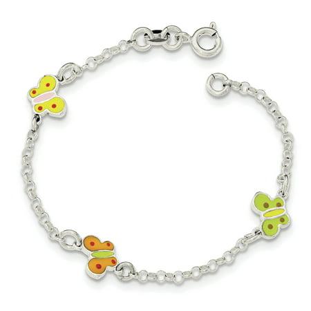 Enamel Silver Vintage Bracelets - 925 Sterling Silver Childrens Enameled Butterfly Bracelet 6 Inch Gifts For Women For Her