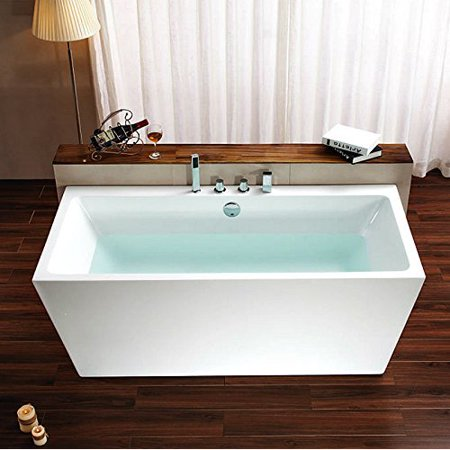 Bathtub Soaking 67 L Rectangle Modern Design With Faucets And Drain Stand Alone Tub