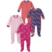 Gerber Baby & Toddler Girls Snug Fit Footed Cotton Pajamas 4-Pack (0/3M-5T)