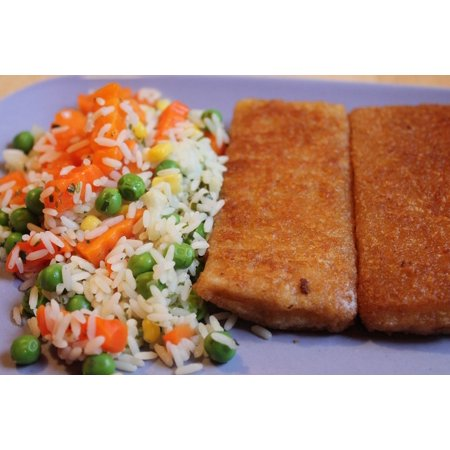 Canvas Print Root Rice Peas Fried Fish Carrots Stretched Canvas 10 x 14