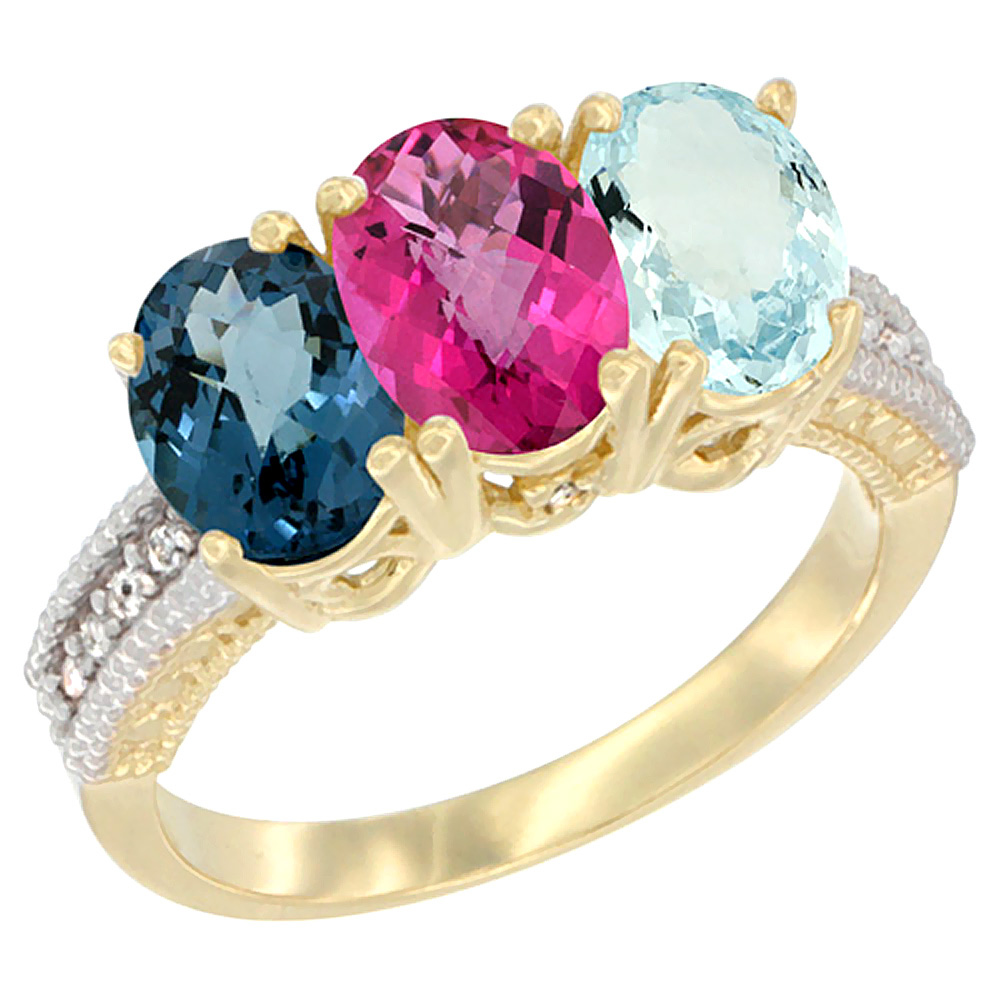 10K Yellow Gold Diamond Natural London Blue Topaz, Pink Topaz & Aquamarine Ring 3-Stone Oval 7x5 mm, sizes 5 10 by WorldJewels