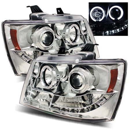 For 07 13 Chevy Avalanche Ccfl Halo Left Right Projector Headlights Lamps Chrome