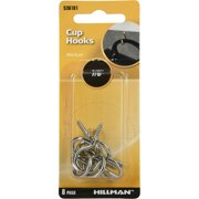 "Hillman Cup Hook 7/8"" inch Nickel Finish 8 Pack"