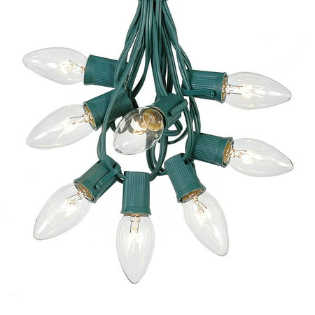 C9 Christmas String Light Set - Outdoor Christmas Light String - Christmas Tree Lights - Hanging Christmas Lights - Roofline Light String - Outdoor Patio String Lights -  Green Wire - 25 Foot (Green String Light)