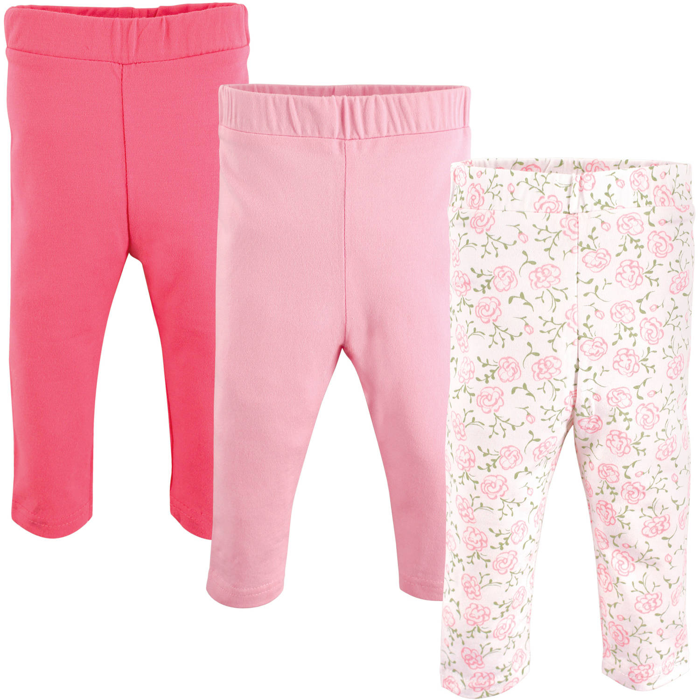 Luvable Friends Newborn Baby Girls Leggings 3-Pack