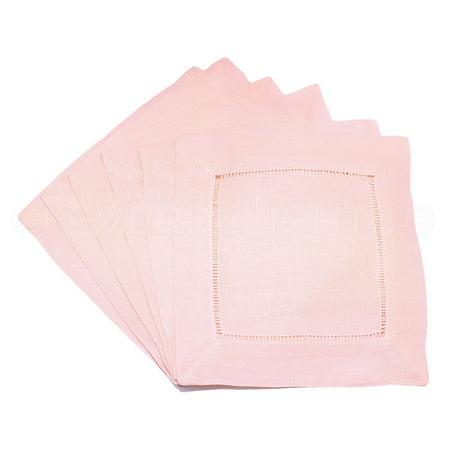 12 Pack - CleverDelights Light Pink Linen Hemstitch Cocktail Napkins - 6