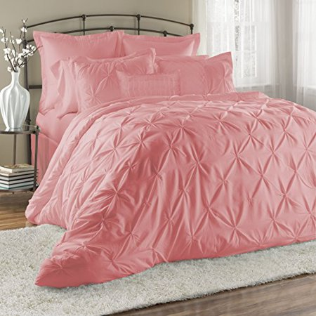 8 Piece Lucilla Bed in a Bag Clearance bedding Comforter Set Fade Resistant, Wrinkle Free, No Ironing Necessary, Super Soft, All Sizes- Queen King Cal.King Size (Cal.King, Pink)