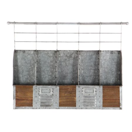 - Decmode Farmhouse 15 X 22 Inch Distressed Metal And Wood Five-Bottle Wall Mounted Wine Holder, Gray