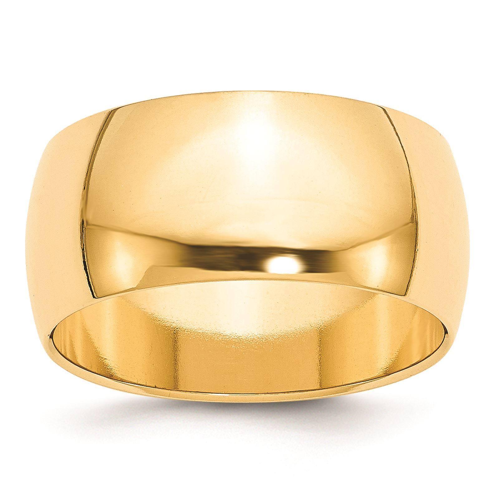 14k Yellow Gold Machined 10mm Polished Half Round Wedding Band Ring Size 12