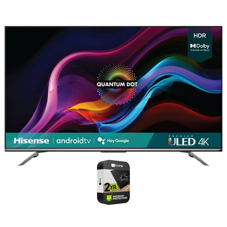 Hisense 55U7G 55 Inch U7G Series 4K ULED Quantum HDR Smart Android TV 2021 Bundle with Premium 2 Year Extended Protection Plan