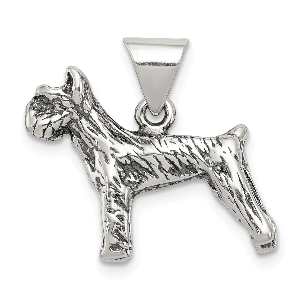 Sterling Silver Antiqued Dog Charm (0.6in long x 0.7in wide)