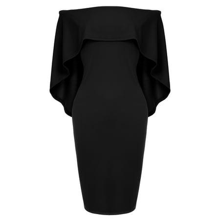 Women Luxurious Off Shoulder Batwing Cape Midi Dress Black XL