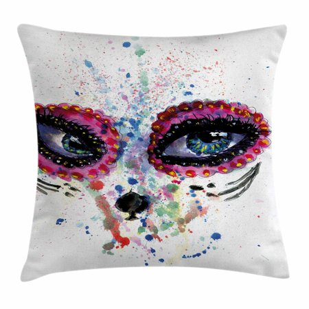 Sugar Skull Decor Throw Pillow Cushion Cover, Spooky Big Eyes Cat Face Girl Portrait Artistic Ceremonial Celebration, Decorative Square Accent Pillow Case, 24 X 24 Inches, Multicolor, by Ambesonne - Sugar Skull Cat