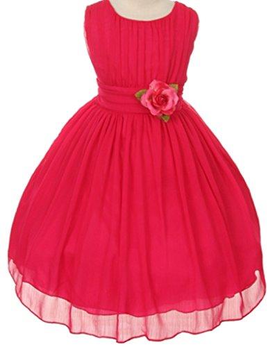 Big Girls' Elegant Yoryu Wrinkled Chiffon Summer Flowers Girls Dresses Black 14 G35G34