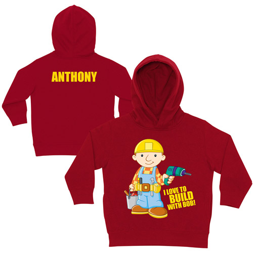 Personalized Bob the Builder I love to Build Red Toddler Hoodie