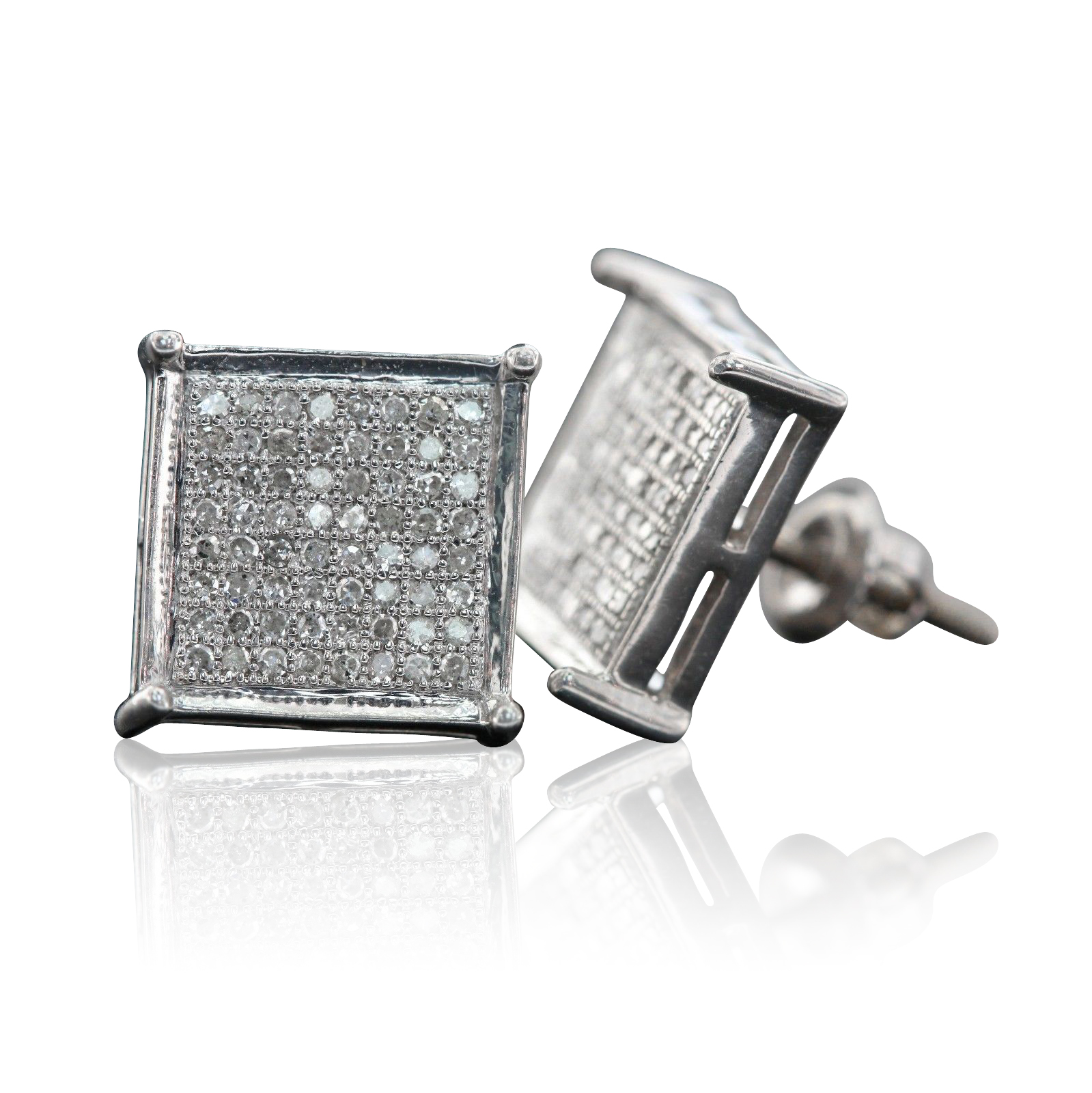 Sterling Silver 11MM Cubic Micro Pave Diamond Stud Earrings (0.38 cttw, H-I color, I1-I2 Clarity)