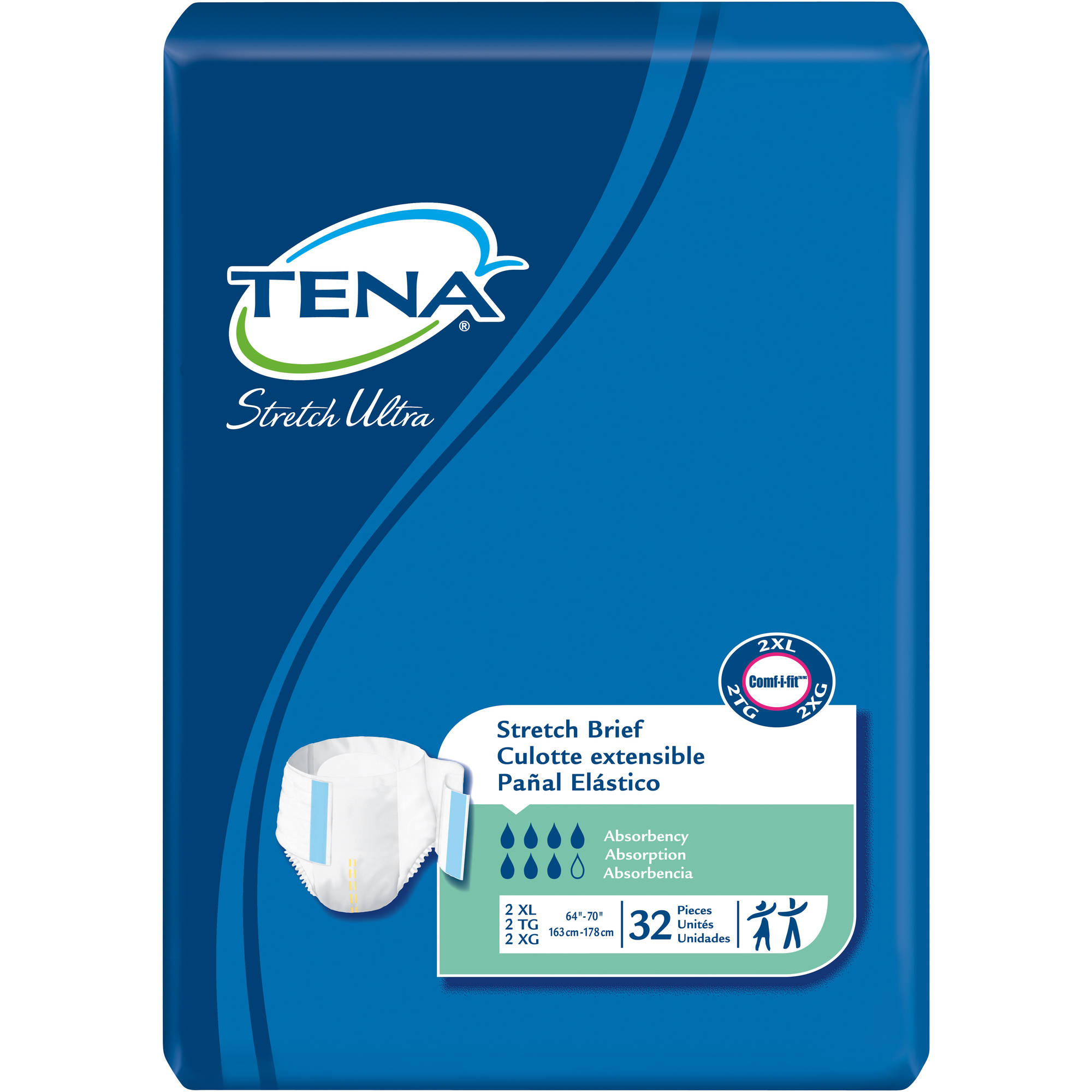 Tena Stretch Ultra Stretch Briefs, 2XL, 32 count