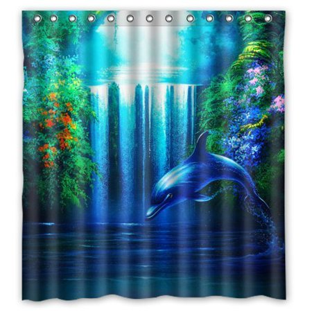 HelloDecor Dolphins Shower Curtain Polyester Fabric Bathroom Decorative Size 66x72 Inches