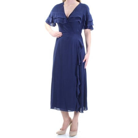 Ruffle Neck Wrap - 1. STATE Womens Navy Ruffled Short Sleeve V Neck Tea Length Wrap Dress  Size: XS