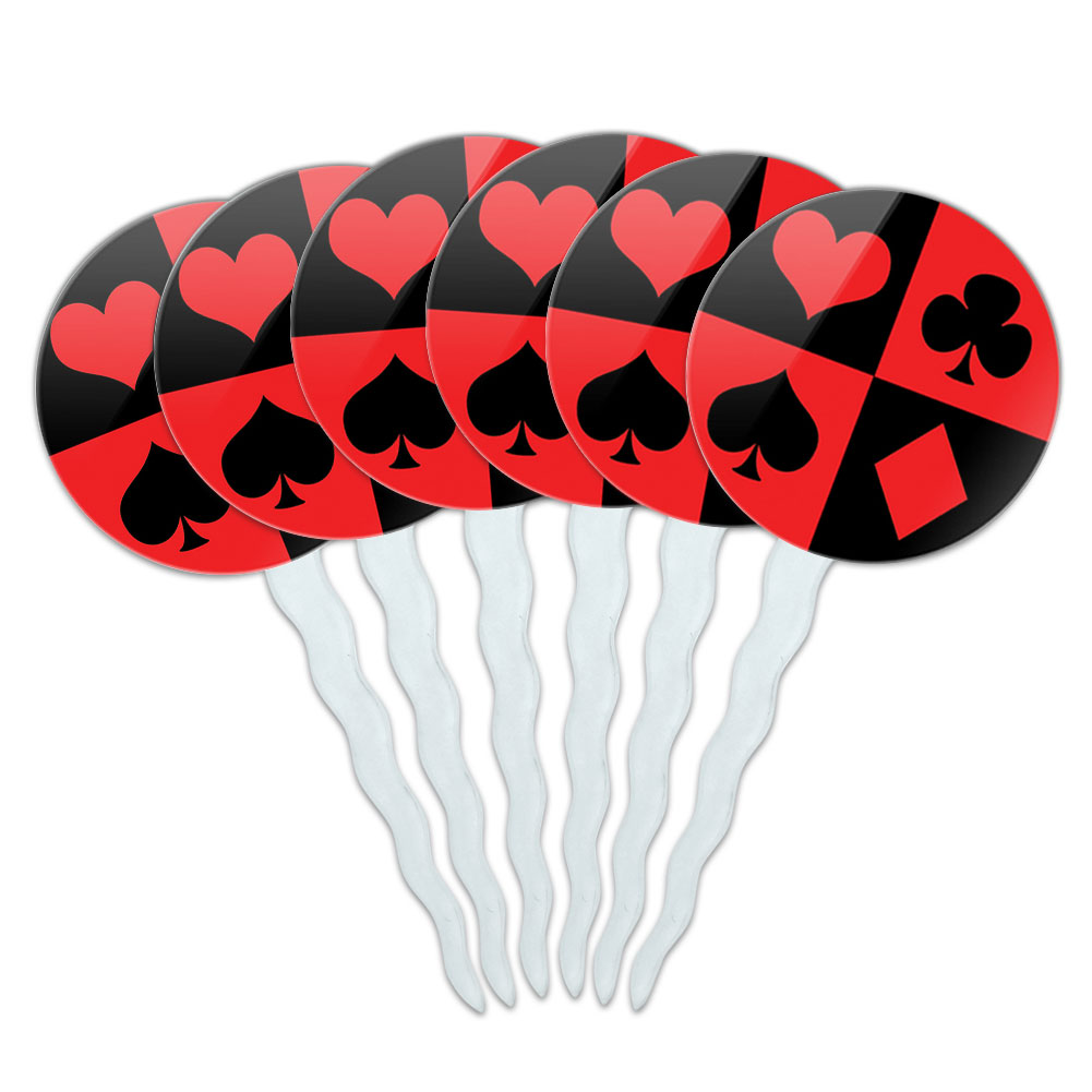 Casino Party Card Poker Game Night Cupcake Picks Toppers - Set of 6